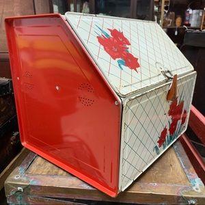Vintage Tin Bread Pie Box Double Shelf Red & White